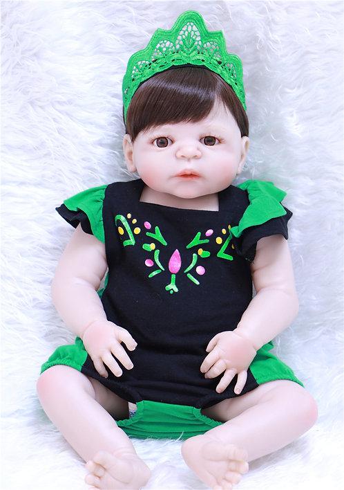 Bebê Reborn de silicone realista verde
