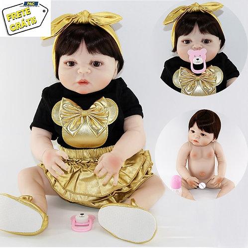 Boneca Bebe Reborn silicone linda dourada VINIL SILICONADO