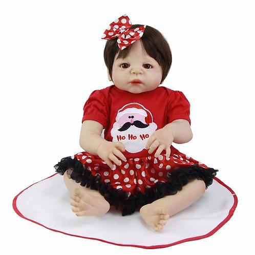 Boneca reborn toda em silicone roupa vermelha