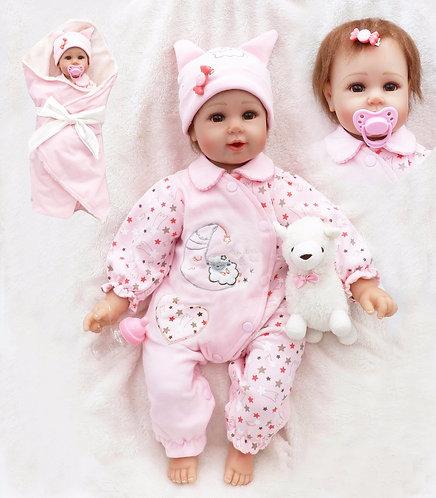 bebe reborn 50 cm macacão rosa