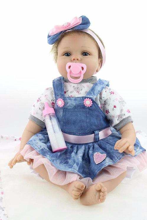 Boneca Reborn Bebe Vestido azul