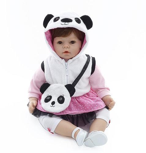 Bebe Reborn com casaquinho panda linda 55 cm perfeita