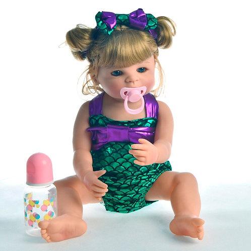 bebe reborn Toda em silicone coque trança Realista Loira