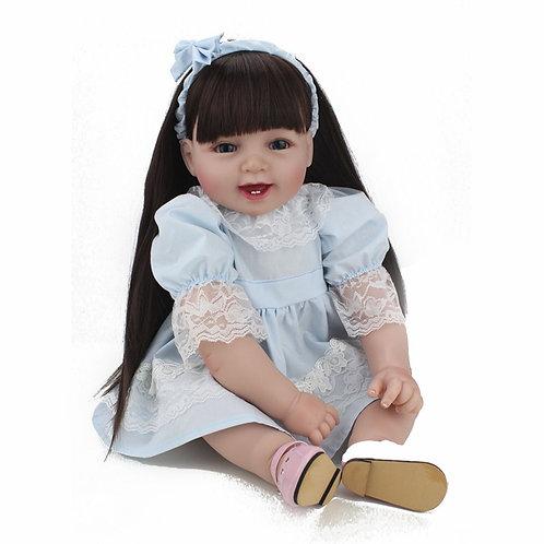 Bebe boneca reborn com cabelos grandes princesa linda