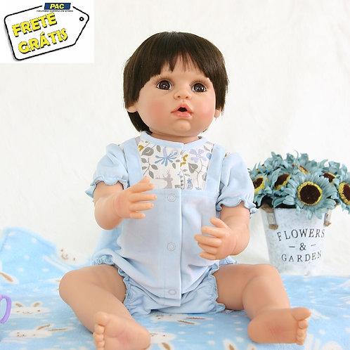 Boneca de Vinil Silicone Bebê Reborn 56 cm Real Menino