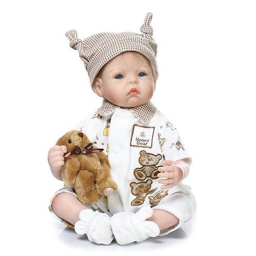 bebe reborn 55 cm com touca estilo menino