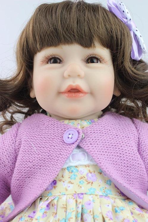 Bebe reborn linda cabelos cacheados 52 cm