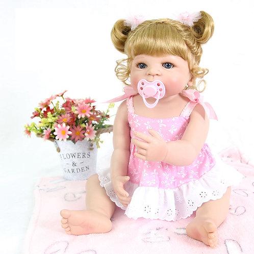 Bebê Reborn Corpo Silicone Loira Cacheado