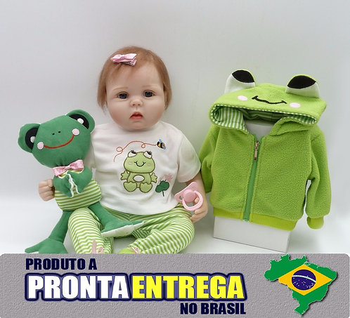 Boneca Bebe Reborn pronta entrega casaquinho verde