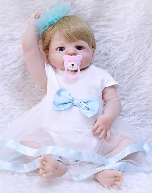 boneca bebe reborn toda em vinil siliconado loira