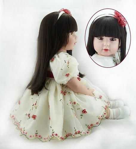 boneca bebê reborn cabelos longos