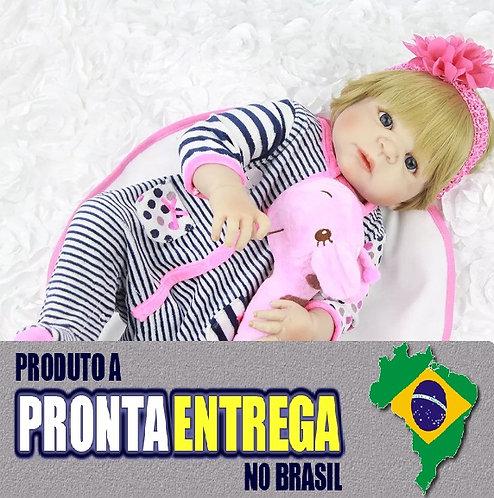 Boneca Bebe Reborn silicone pronta entrega VINIL SILICONADO macacão