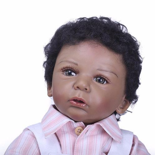 Real bebê menino bonecas negras 50 cm nativo africano