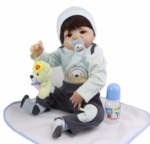 Boneca bebe Reborn TODA EM VINIL SILICONADO menino lindo