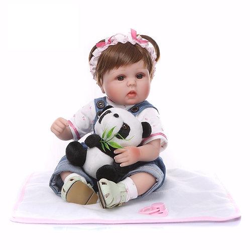 boneca reborn com ursinho de pelúcia