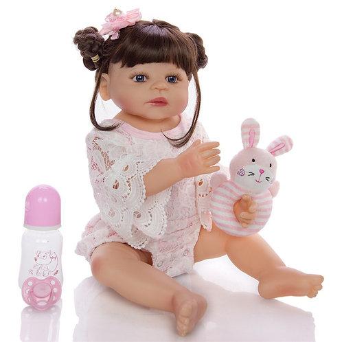 Boneca reborn novo estilo de cabelo menina