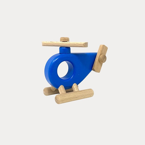 Bajo Wooden Toy Helicopter Blue