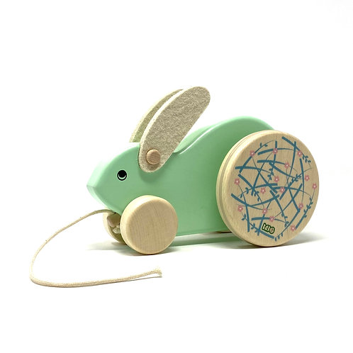 Large Wooden Bunny, Pull Along Toy for Toddlers