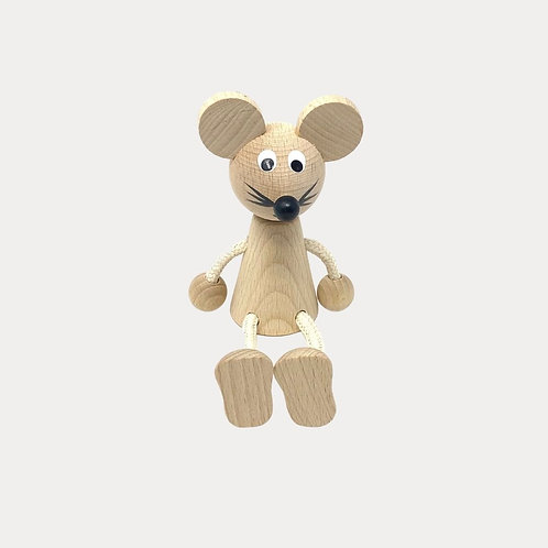 Traditional Czech Toys in the UK, Wooden Sitting Mouse Toy for Baby and Toddler