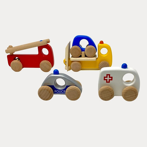 Bajo Emergency Vehicle Set. Wooden Cars for Babies and Toddlers