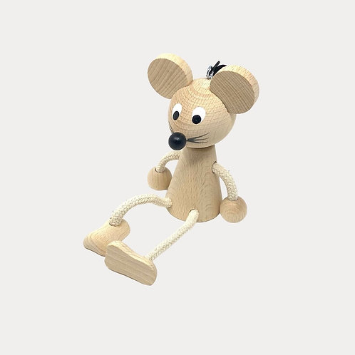 Natural Wooden Springy Mouse Mobile for Baby and Toddler