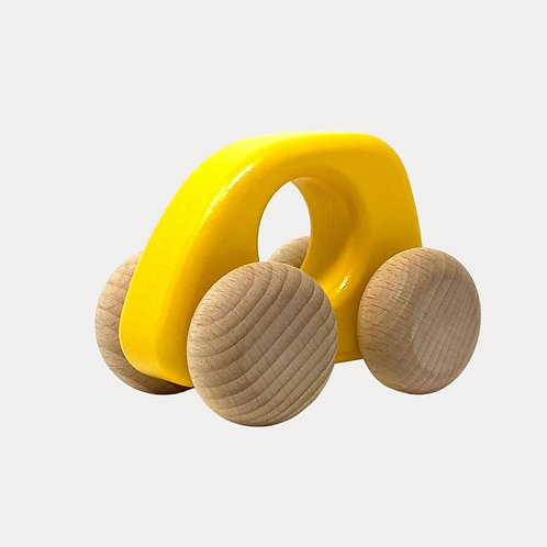Bajo Wooden Toy Car Yellow. Wooden toy car for children