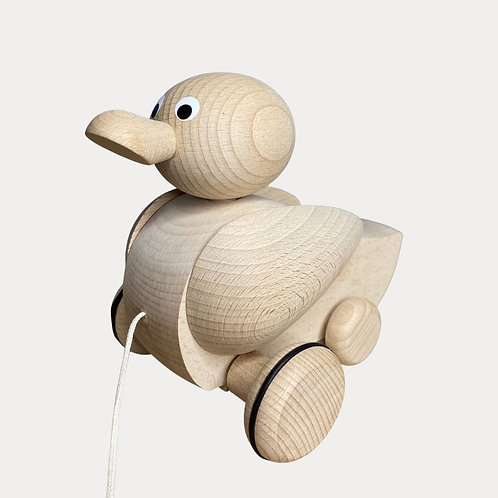 Traditional Wooden Natural Push and Pull Along Quacking Duck for Baby and Toddler