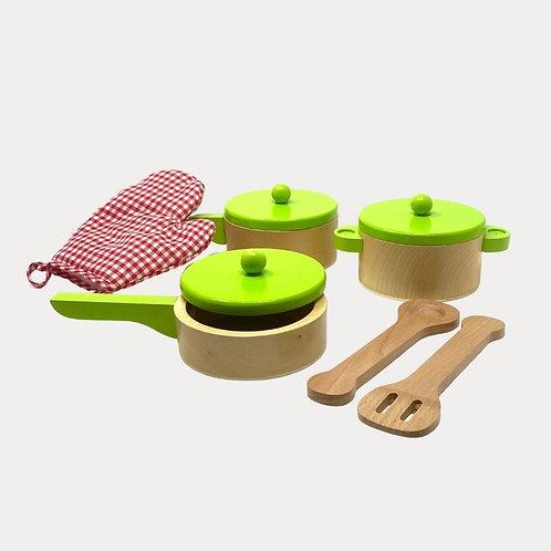 Childrens wooden play kitchen accessories
