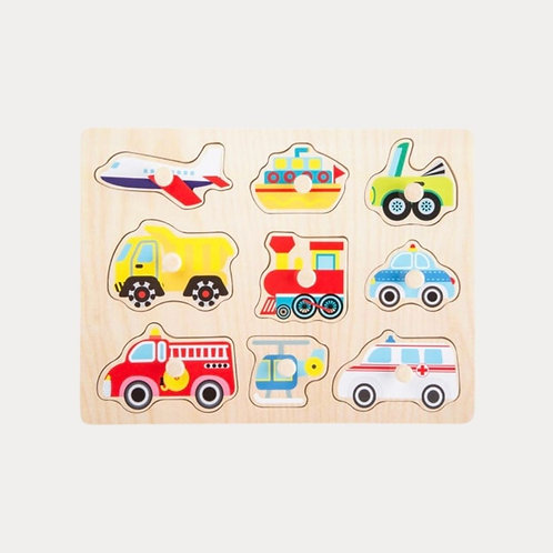 Vehicle peg puzzle for toddles