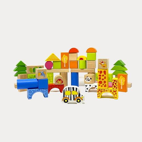 Wooden Zoo Building Blocks