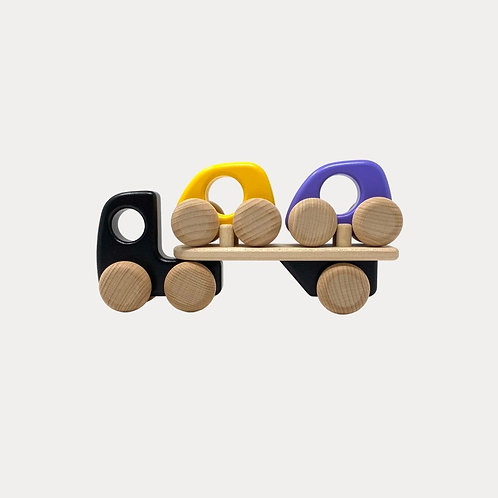 Bajo Wooden Auto Transporter with Cars, gift for baby and toddler