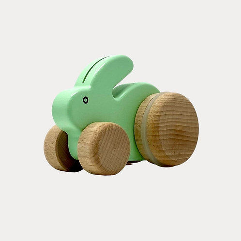 Bajo Small Rabbit Mint Push Along Toy for Baby and Toddler