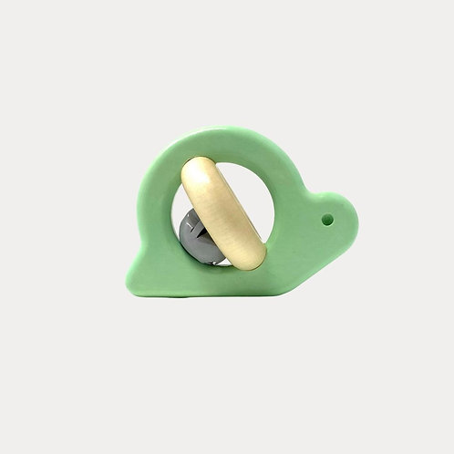 Bajo Natural Wooden Snail Rattle Mint for Baby