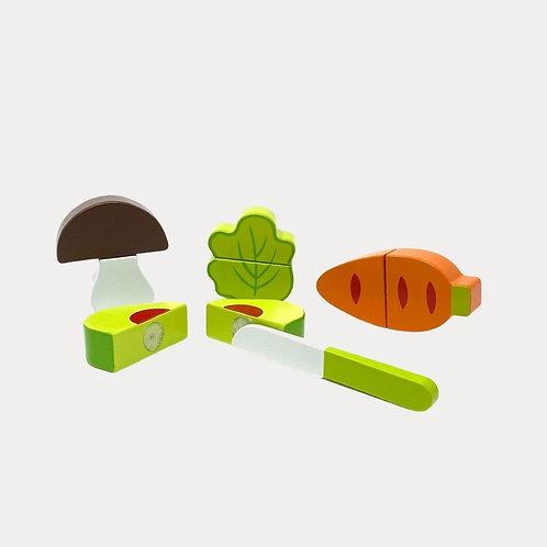 Wooden Vegetable Pretend Food Cutting Set