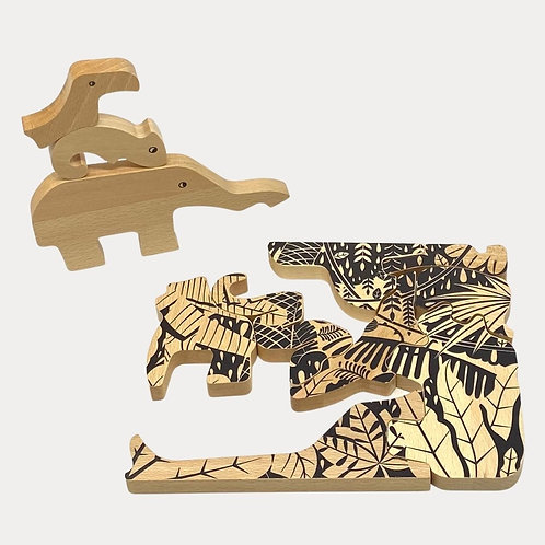 Bajo Jungle Puzzle. 2-in-1 puzzle and animal figures