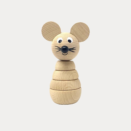 Wooden Stacking Mouse for Baby and Toddler