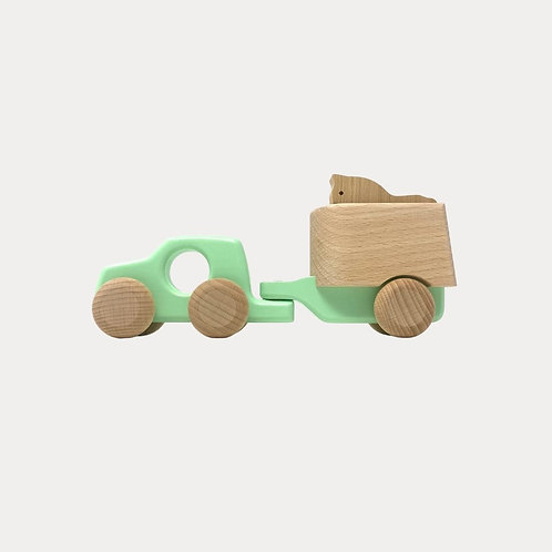 Bajo 4WD Car and Horse Wooden Toy
