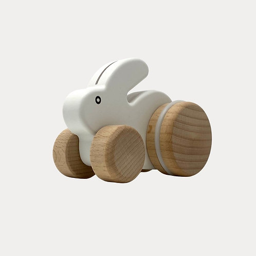 Bajo Small White Rabbit Push Along Toy for Babies
