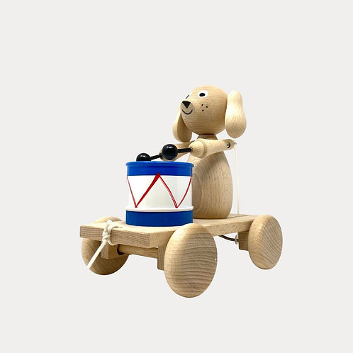 Wooden Pull Along Dog with Drum