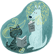 A dog and cat reading a book and imagining they are characters in that book