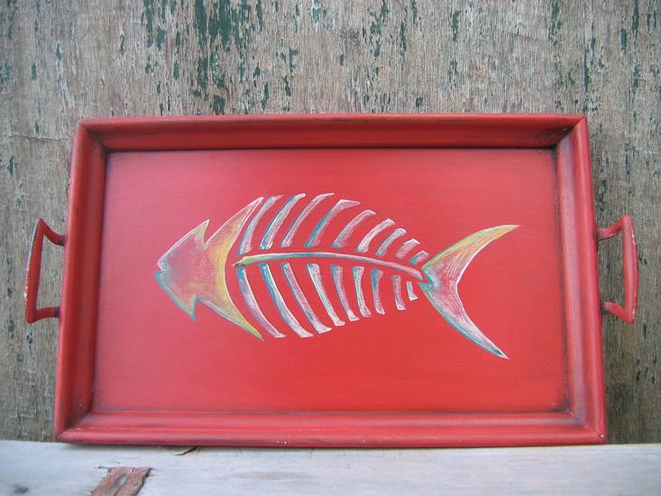 Red Fishbone Tray