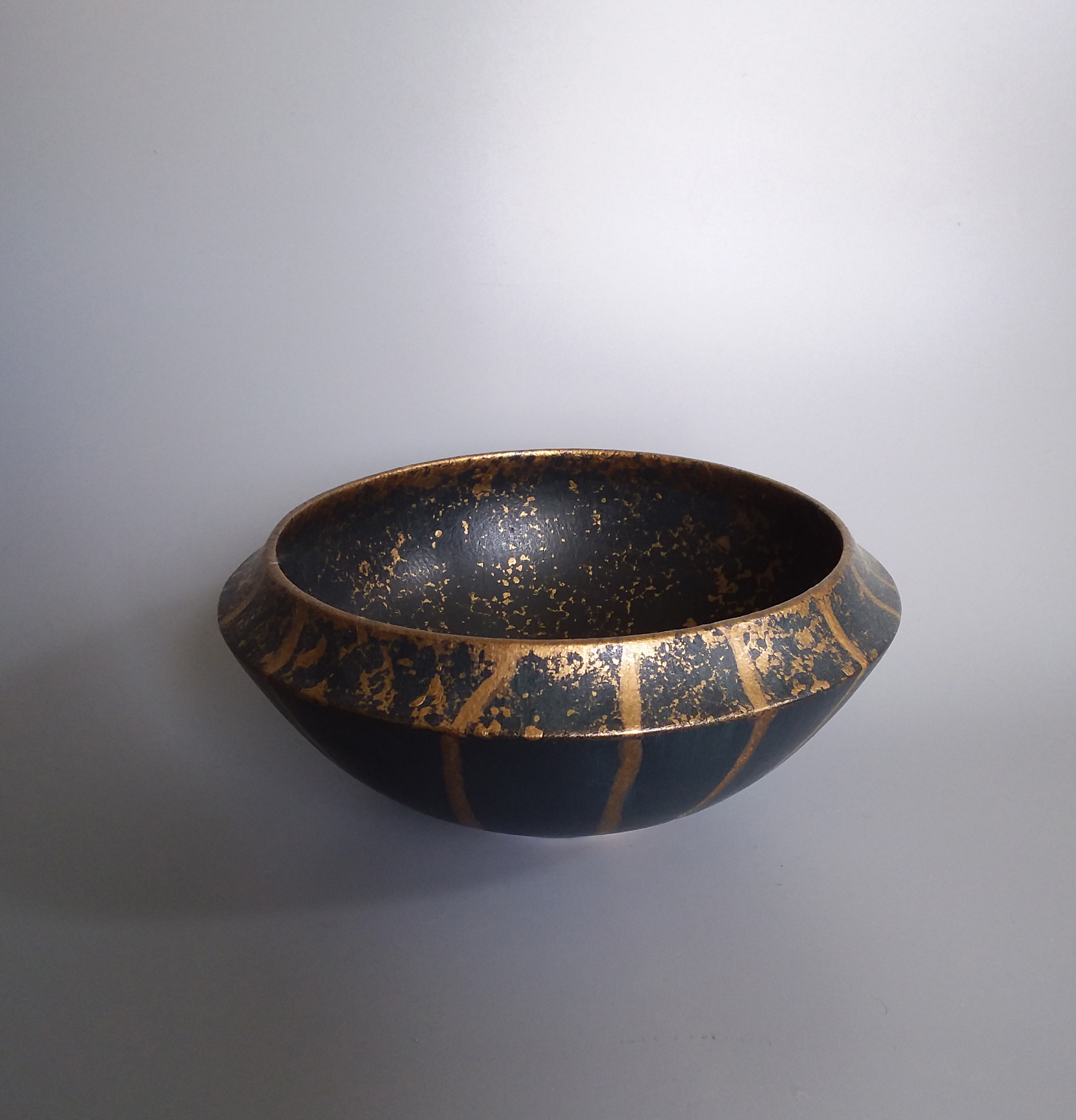 Blue Black Dipped Gold Bowl