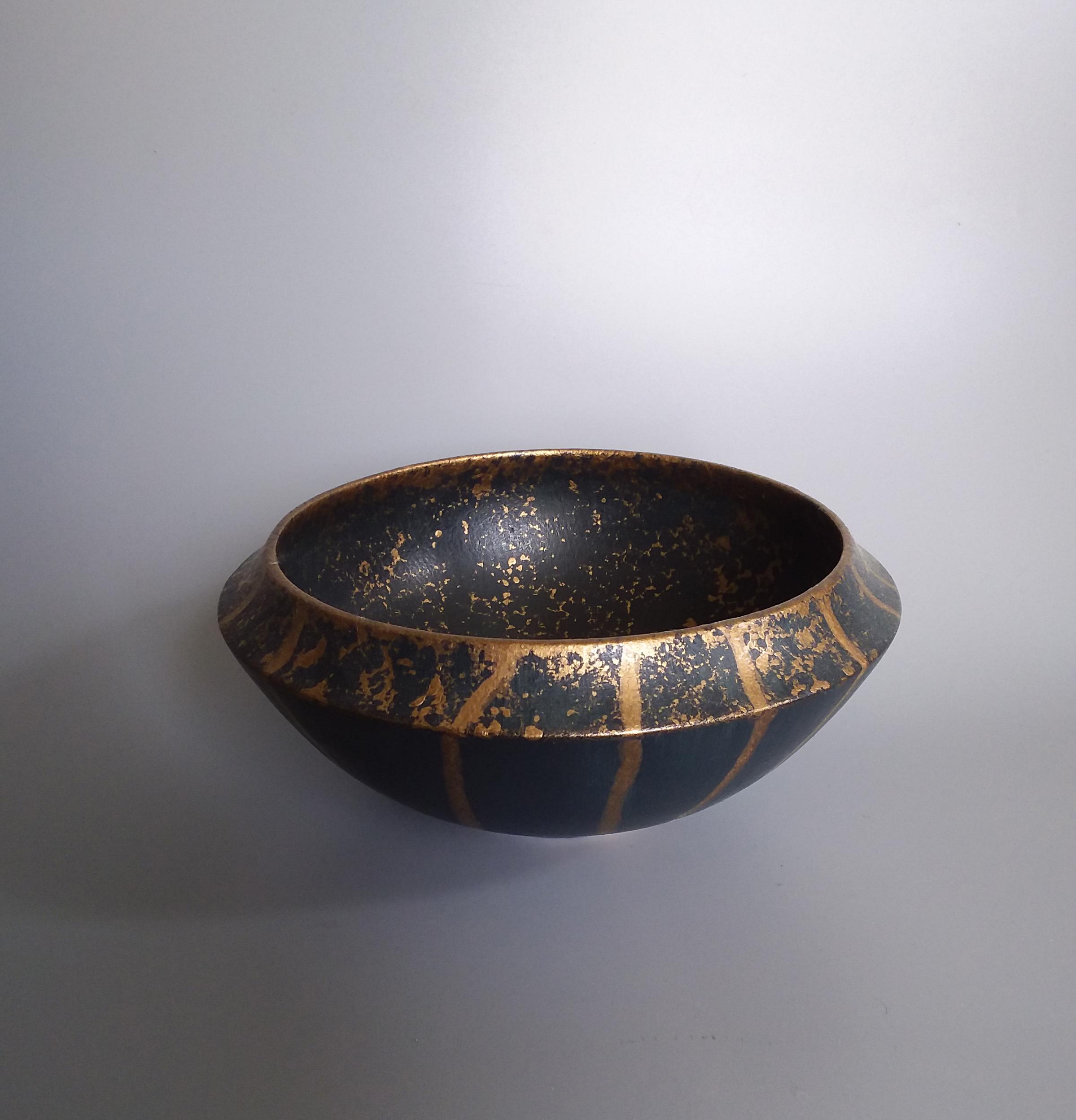 Blue Black Dipped Gold Bowl