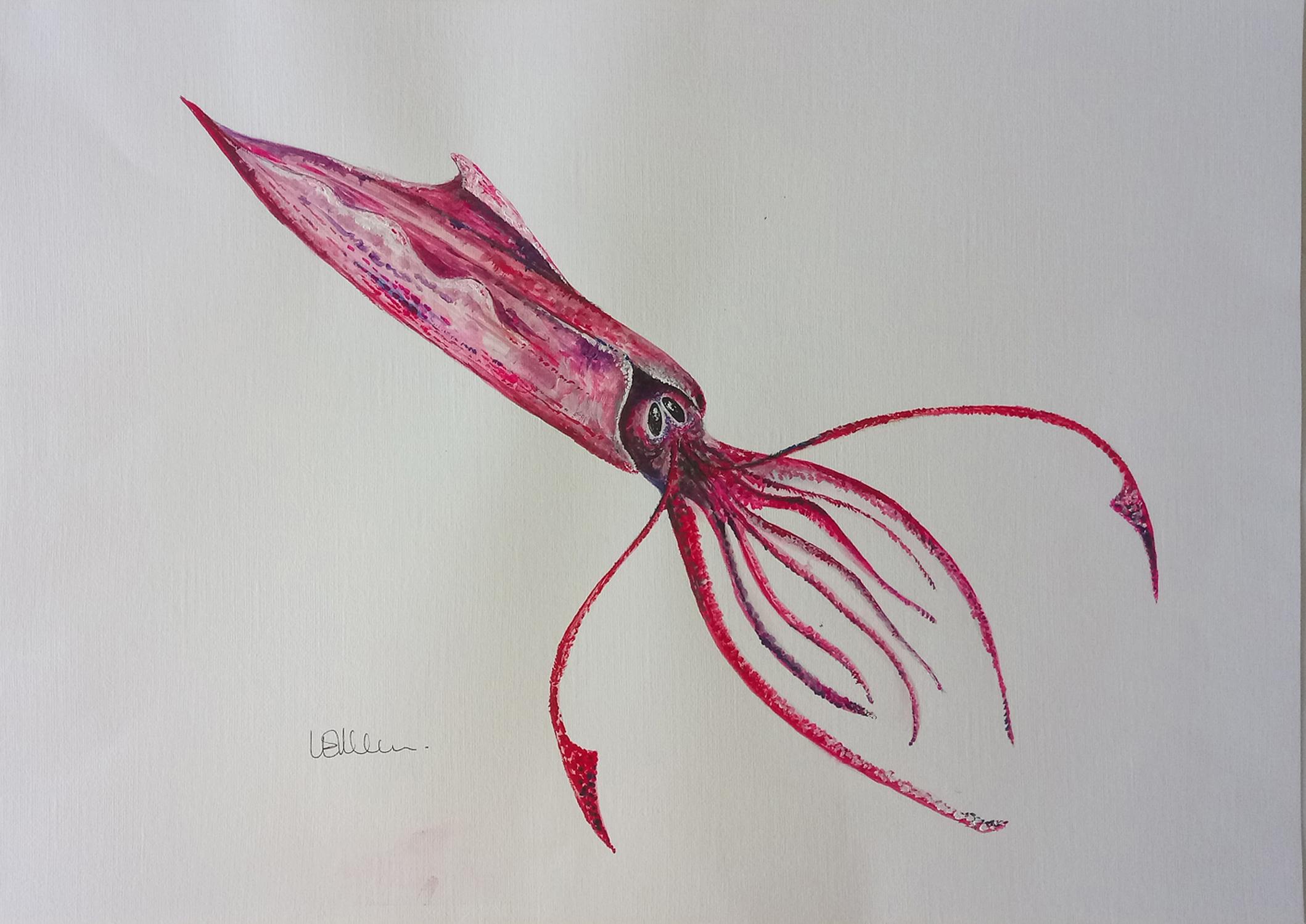 Red Skittish Squid