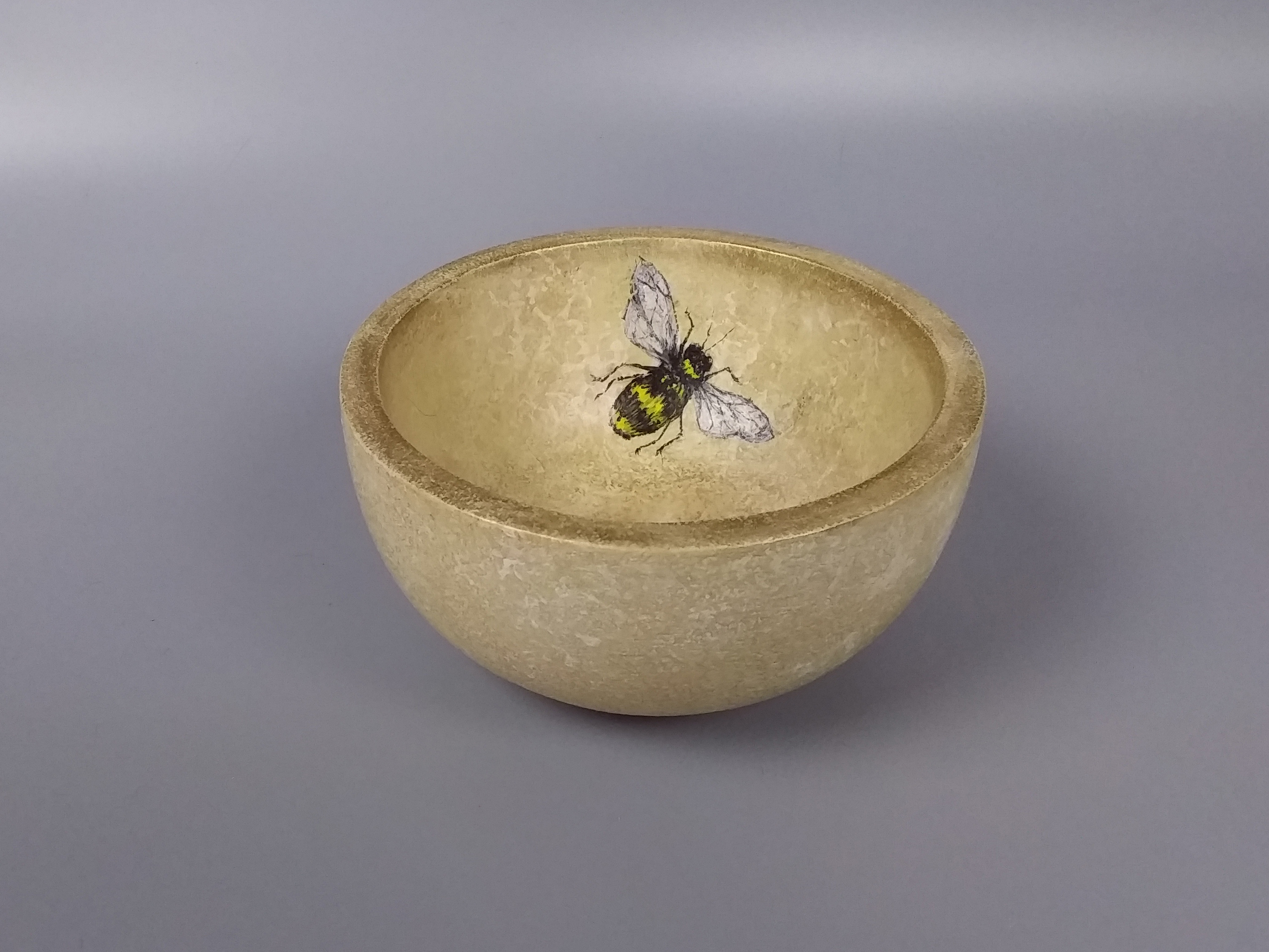 Bee in Yellow Gold Bowl