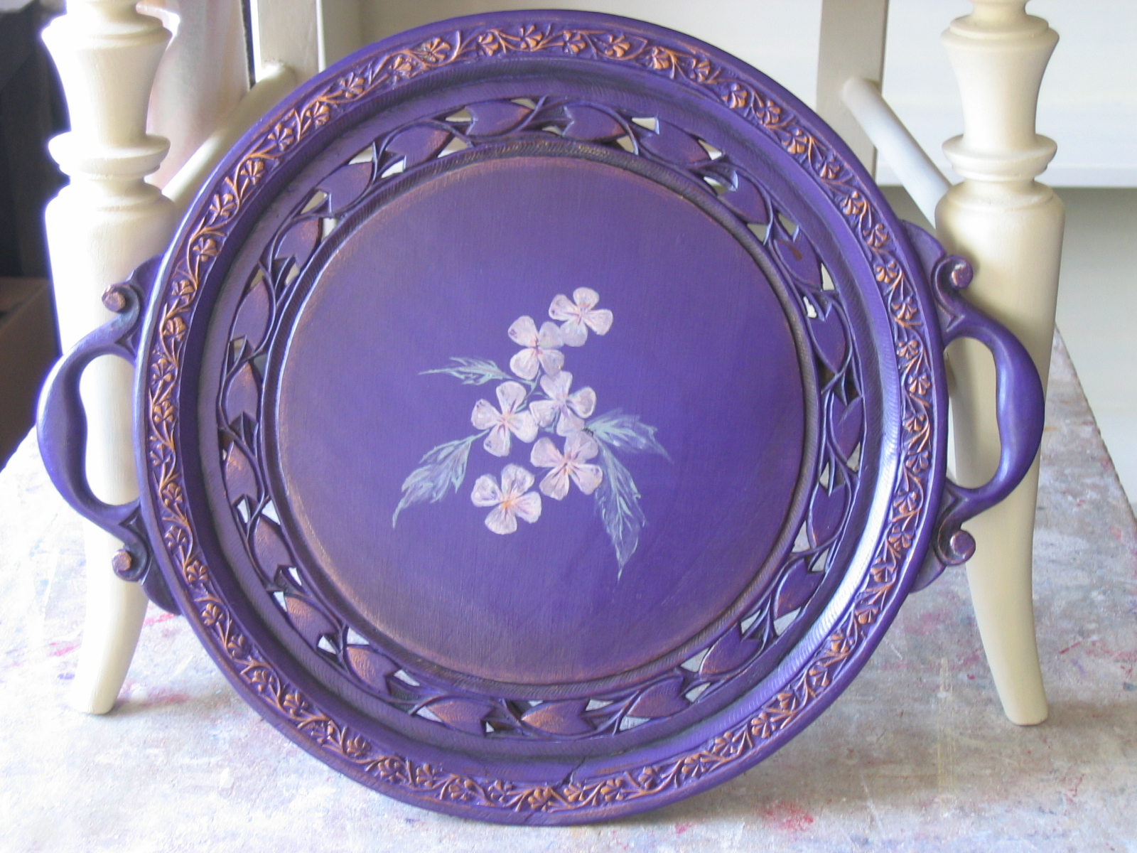 Purple Heart Tray with Flowers