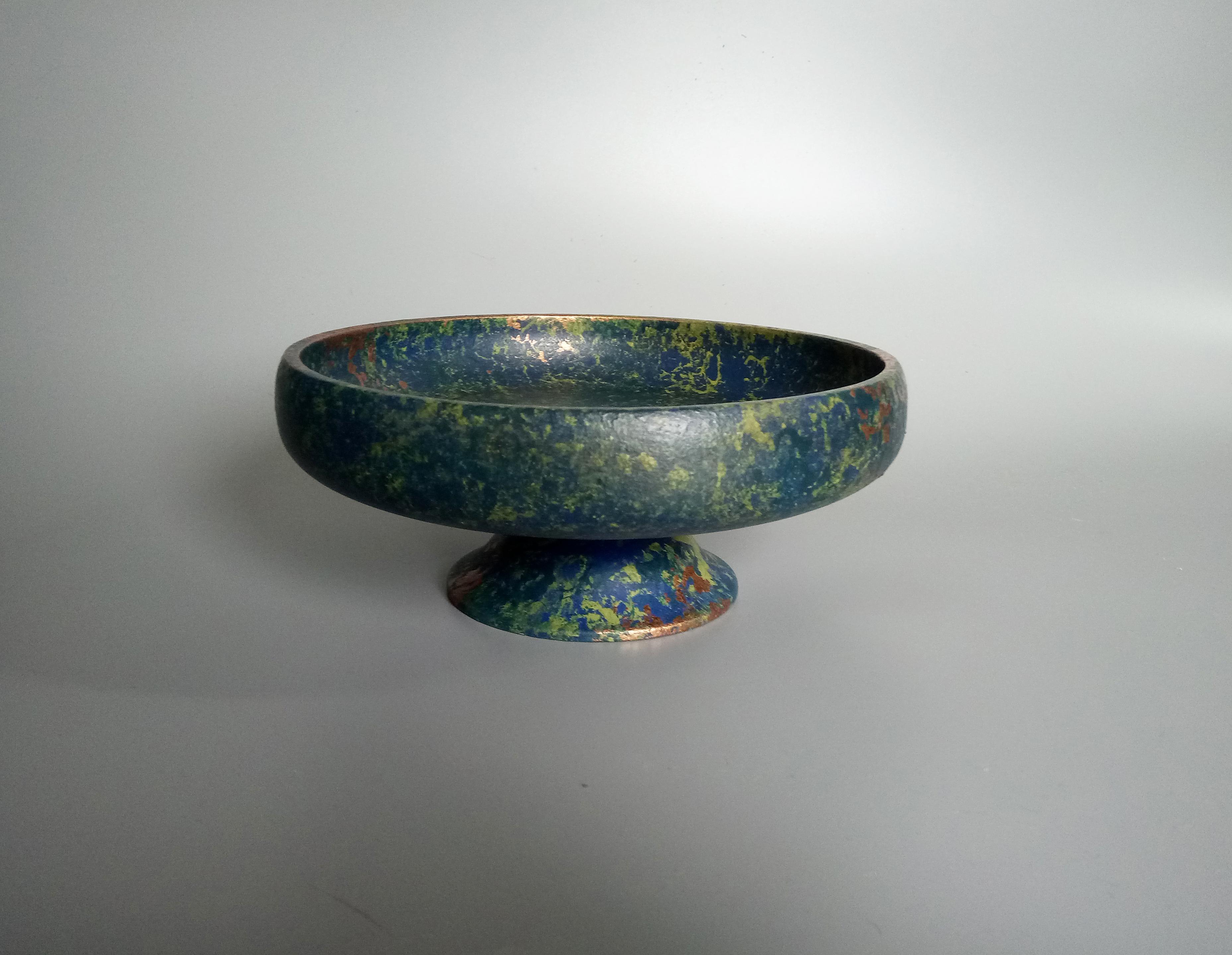 Deep Blue & Green Pedestal Bowl