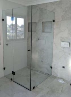 Frame-less Pivot Door Shower Screen Matt Black