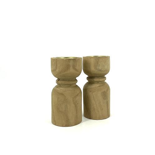Houten kaarsenhouders, set van 2, Maat L