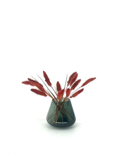 Vaasje rookglas incl. droogbloemen